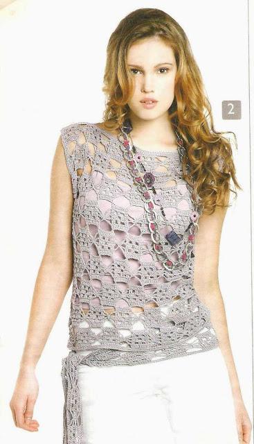 Patrón #1540: Blusa a Crochet