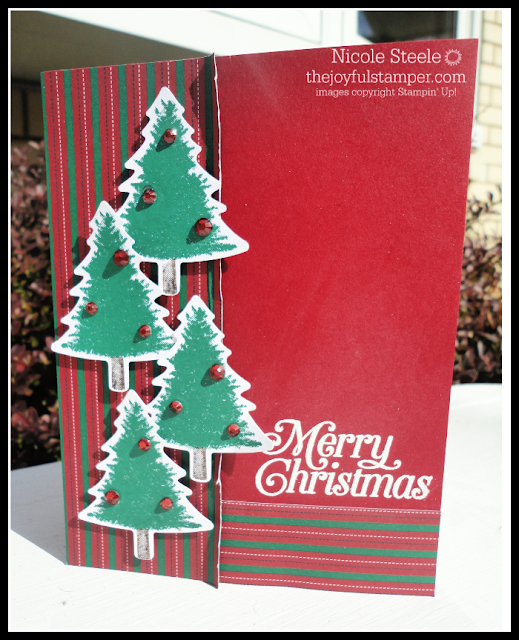 Perfectly Plaid Stacked Trees Christmas card for Splitcoaststampers Sketch Challenge 772