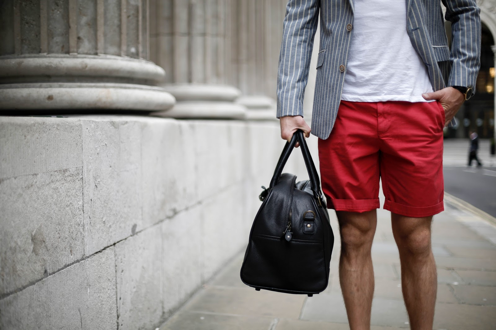 New & Lingwood Blazer, Howick Red Shorts and Black Leather Holdall. All by House of Fraser.