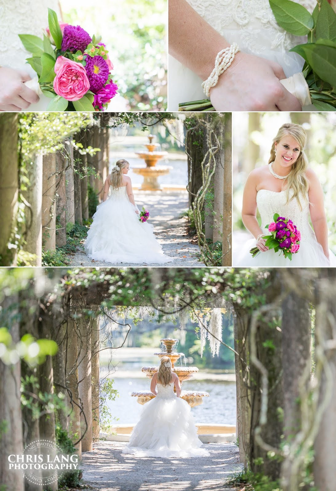 Image of Bride in Airlie Gardens holding flowers at the pergola - Bridal Ideas - Airlie Wedding Picture Ideas - Bride - Wedding Dress - Chris Lang Photography -  Wilmington NC Wedding Photography