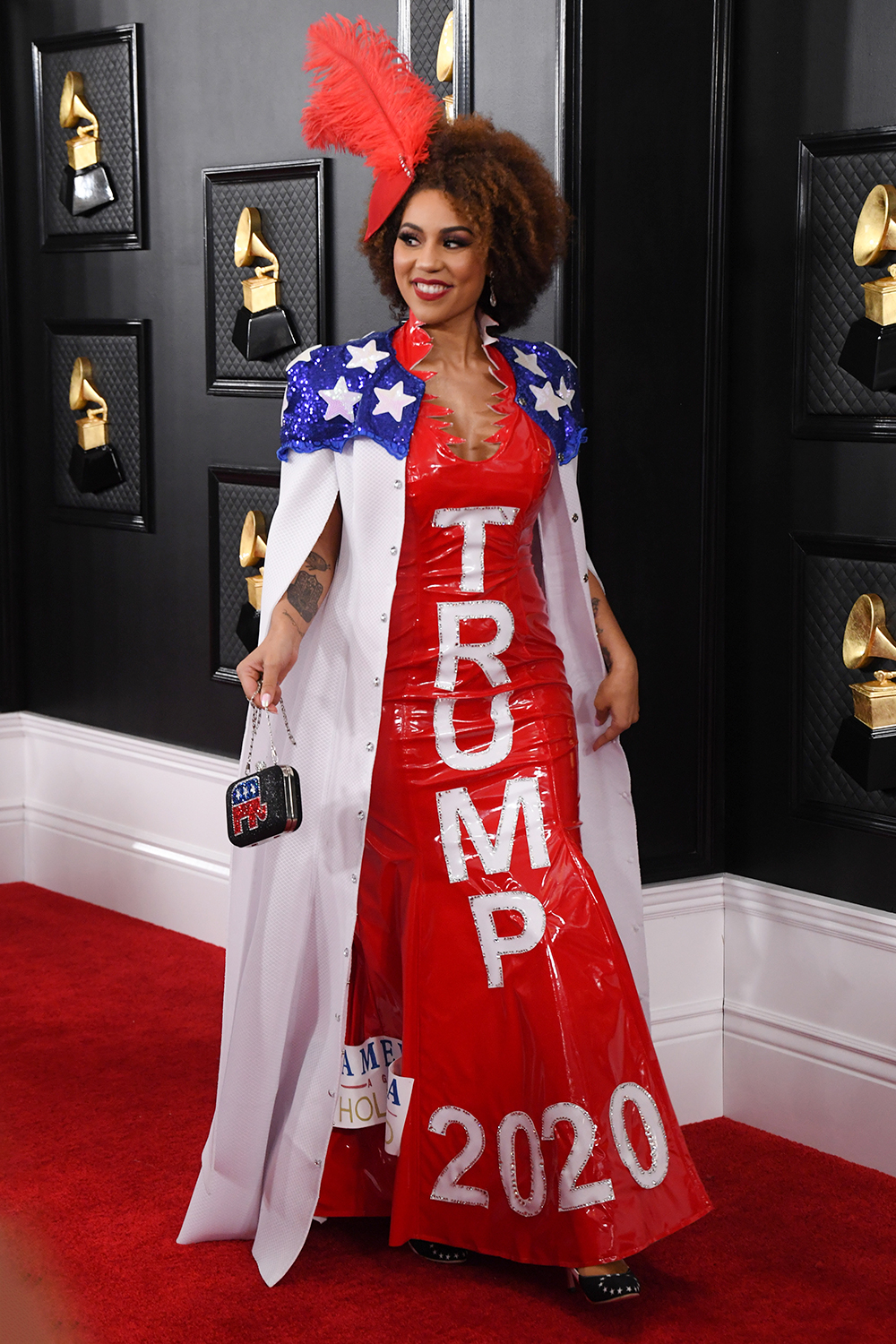 Joy Villa Wears Trump 'Impeached and Re-Elected' Dress on Grammys Red Carpet