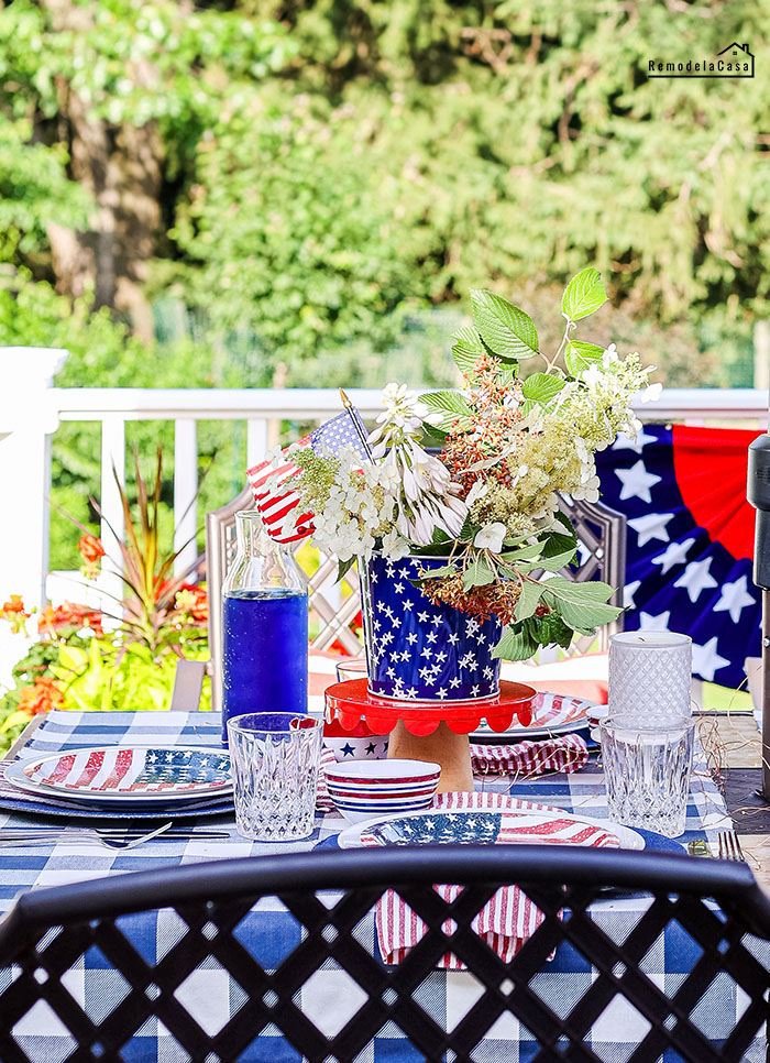 Red, white and blue outdoor table