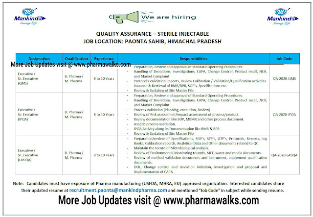 Mankind Pharma hiring for Quality Assurance department | Apply Now