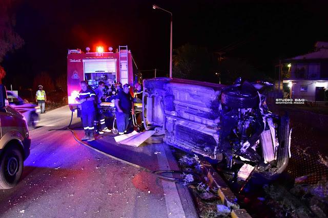 Τροχαίο ατύχημα στο Ναύπλιο με εκτροπή και ανατροπή αυτοκινήτου - Τραυματίας ο οδηγός (βίντεο)