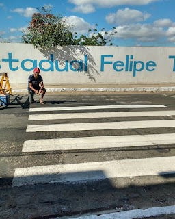 Sem esperanças comerciante pinta faixa de pedestre em Picuí