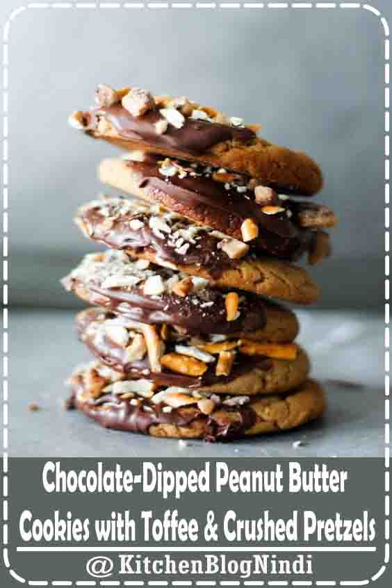Chocolate-Dipped Peanut Butter Cookies with Toffee & Crushed Pretzels