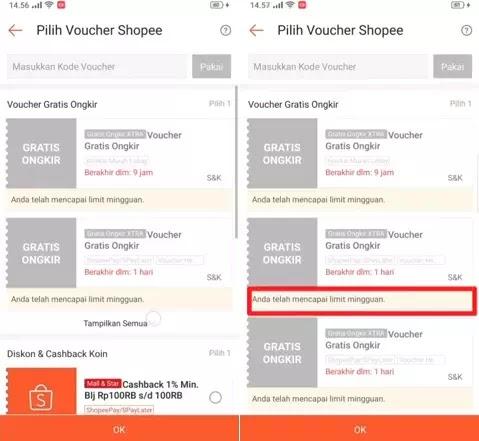 Cara Mengatasi Voucher Gratis Ongkir Limit Mingguan Shopee-1