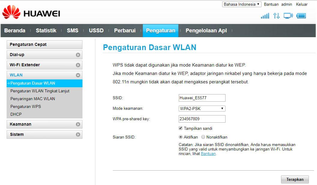 Cara ganti password wifi huawei e5577 melalui web 192.168.8.1
