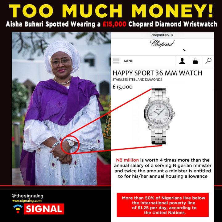 Aisha Buhari steps out with 8.2 million naira wristwatch