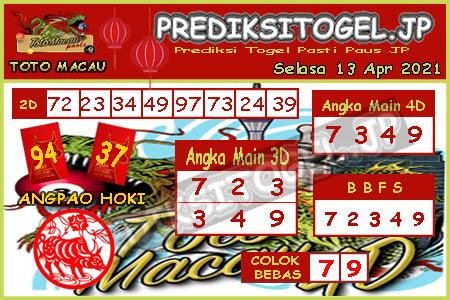 Prediksi Togel Toto Macau JP Selasa 13 April 2021
