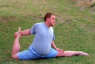 Fat guy stretching weird
