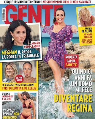 Roberta Capua copertina settimanale Gente oggi 30 luglio