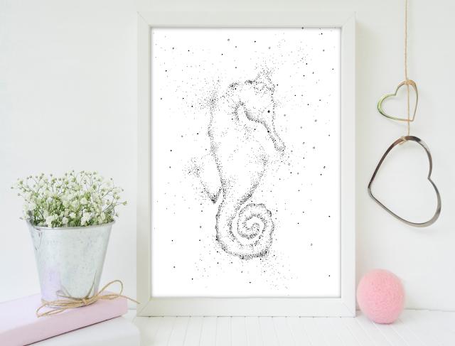 Doodle Seahorse Printable Artwork