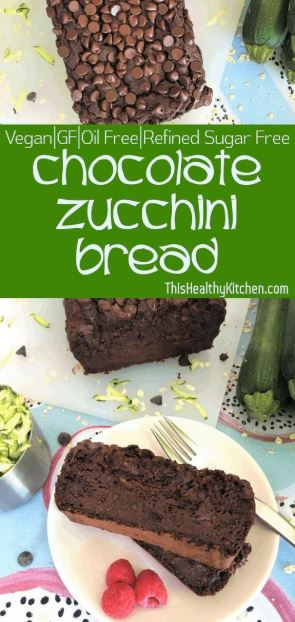 Chocolate Zucchini Bread [Vegan+GF+Oil Free]