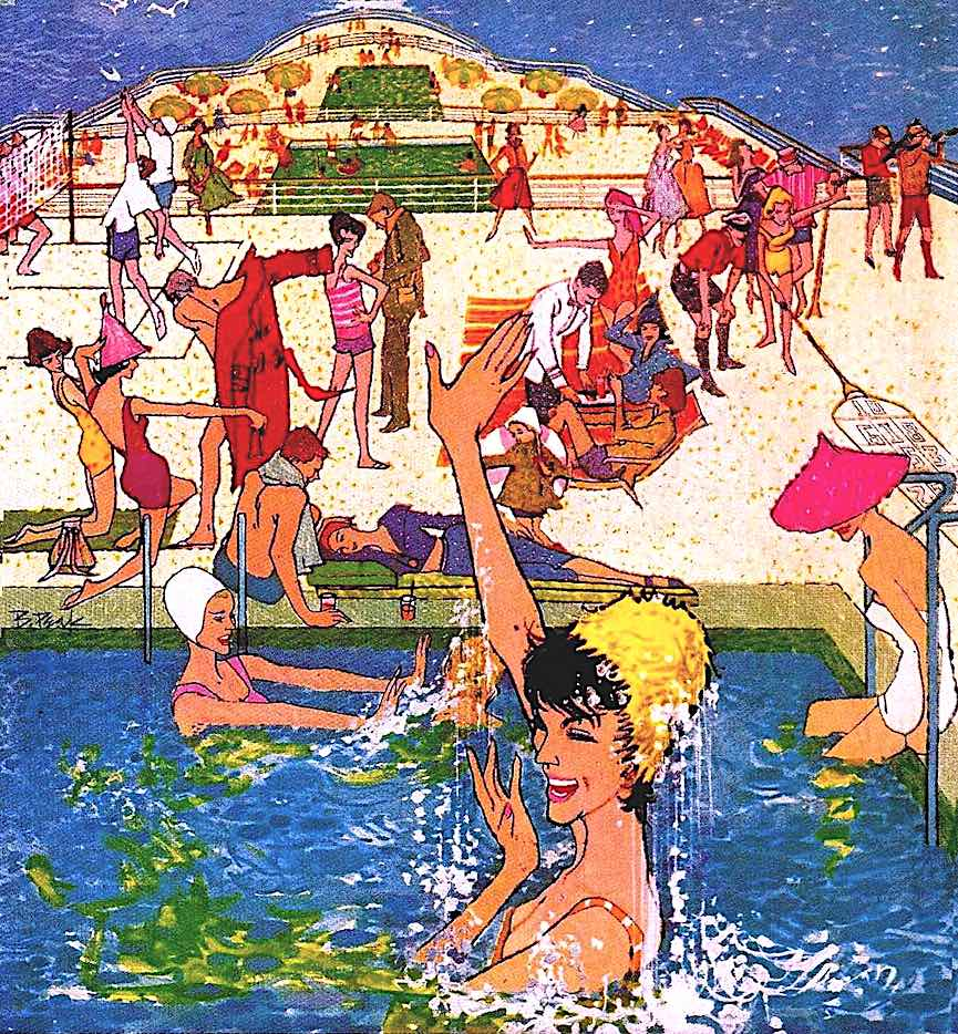 a Bob Peak illustration of a cruise ship swimming pool