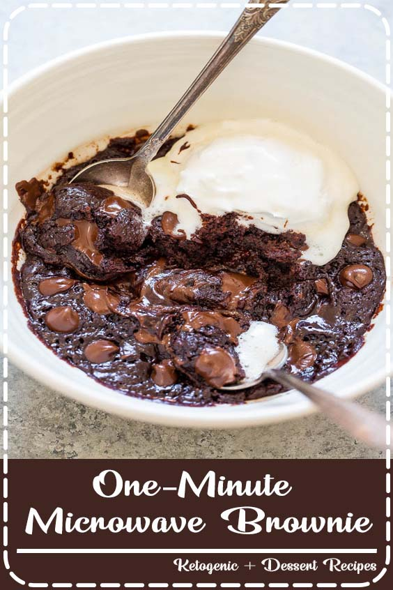 One-Minute Microwave Brownie 😍🍫- When chocolate cravings strike, make this EASY brownie recipe in one bowl, without a mixer, and it's ready in ONE MINUTE!! 🙌 Rich, FUDGY, decadent, and accidentally vegan!! (no dairy, no butter, no eggs!)❤️