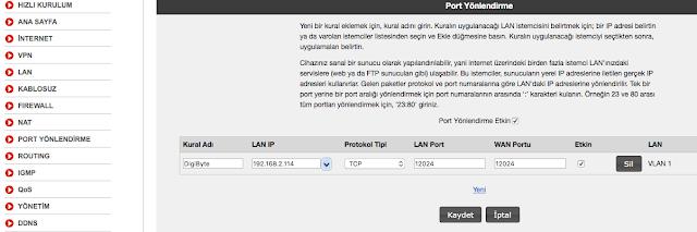 DigiByte Port Yönlendirme