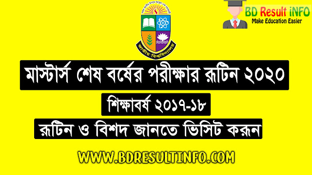 NU (National University) Masters Final Year Exam Routine 2020 PDF Download Session (2017-18)