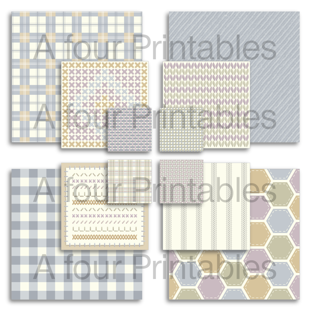Fabric stitch and weave effect collage squares in neutral colours from A four Printables.
