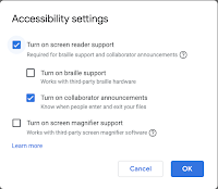 Accessibility menu with Turn on Screen Reader Support checked off and Turn on collaborator announcements turned on