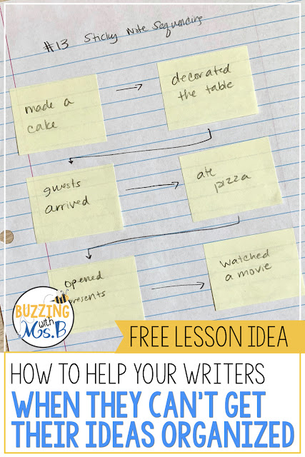 One of the first tools teachers turn to when they need to help their students plan their writing is a graphic organizer. But sometimes they can be overwhelming for some of our kids! This post and video demonstrate a strategy that is easy to use to help your kids organize their plan for writing and start getting some ideas on paper. It only requires a pencil and sticky notes and your kids will have a plan for personal narrative writing so they can move on in the writing process!