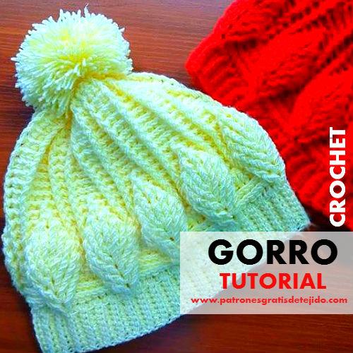 patrones-gorro-crochet-con-hojas-en-relieve