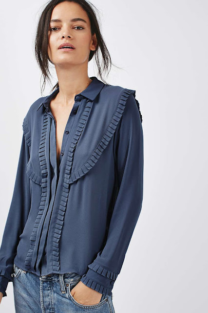 Topshop Pleat Bib Long Sleeve Shirt