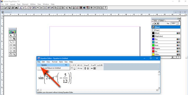 How to type Math equation in PageMaker