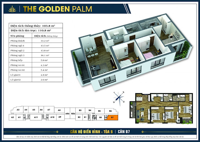Mặt bằng căn B7 tòa B chung cư The Golden Palm