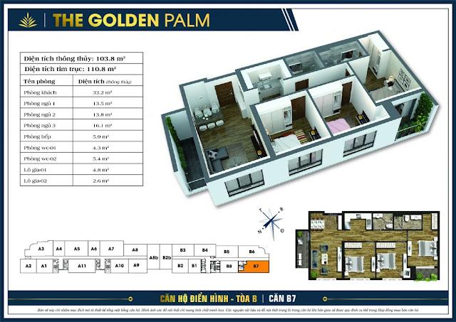 Thiết kế căn hộ B7 tòa B chung cư THE GOLDEN PALM