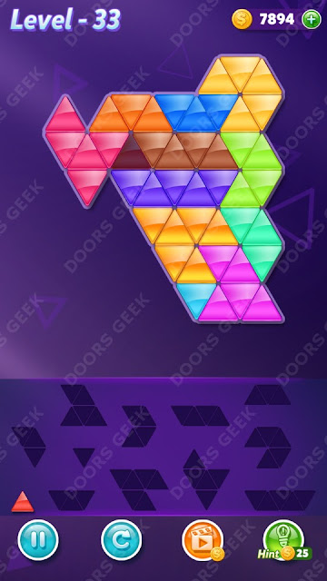 Block! Triangle Puzzle 12 Mania Level 33 Solution, Cheats, Walkthrough for Android, iPhone, iPad and iPod