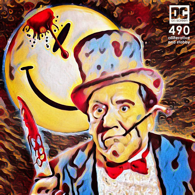 Burgess Meredith holds a bloody blade in episode 490 of DC on SCREEN Podcast