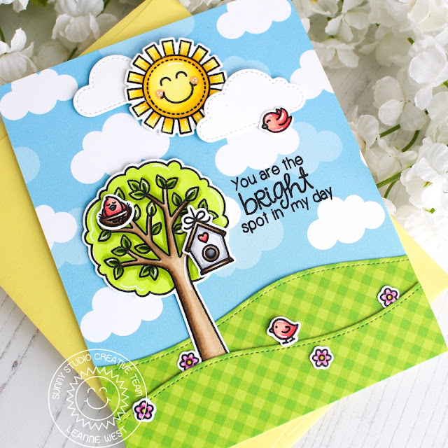 Sunny Studio Stamps: Seasonal Trees Sending Sunshine Fluffy Clouds Dies Sunny Sentiments Everyday Cards by Eloise Blue and Leanne West