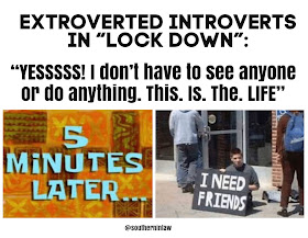 How Extroverted Introverts Feel in Lock Down Quarantine Meme