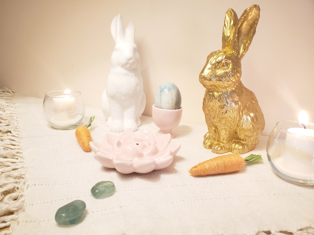 Ostara, spring equinox, altar, witchcraft, witch altar, sabbat, spring, witchy, occult, pagan, wicca, wiccan