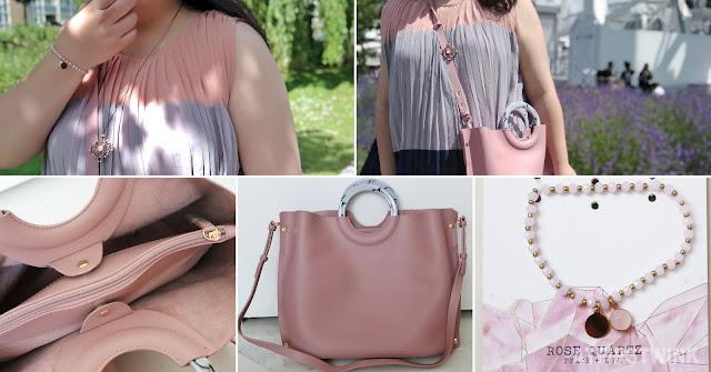 Topshop pink bag marble round handles rose quartz bracelet sale dress necklace