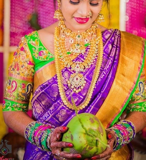 Pretty Brides in Simple Gold Haram Pachi Sets