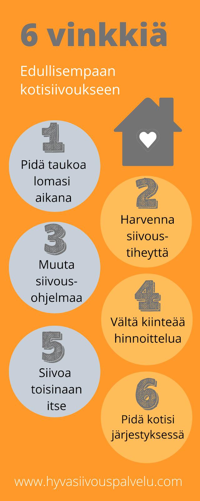 Edullinen kotisiivous Tampereella - 6 vinkkiä [Infograafi]