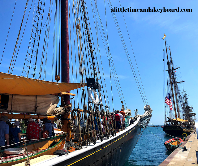 Gazing at the Pride of Baltimore II while boarding Bluenose II at Kenosha Tall Ships