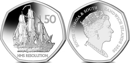 South Georgia and South Sandwich Islands 50 pence 2020 - HMS Resolution