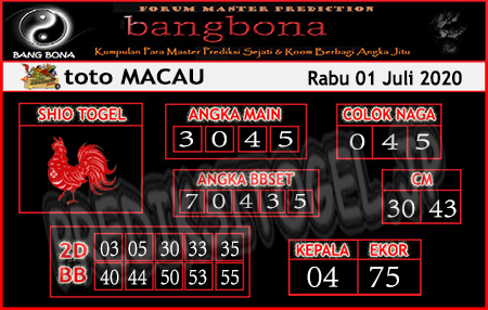 Prediksi Bangbona Toto Macau Rabu 01 Juli 2020