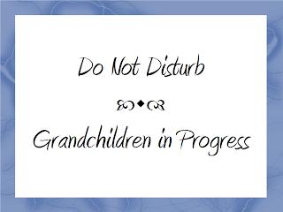 "Sign: ""Do Not Disturb. Grandchildren in Progress."""