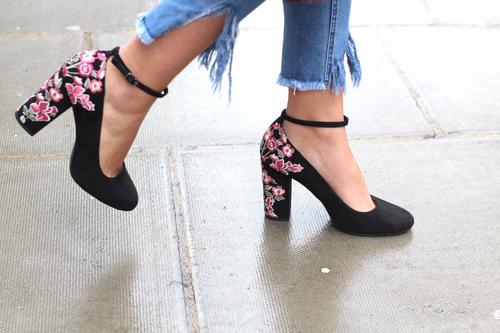 embroidered heels new look peexo style blogger