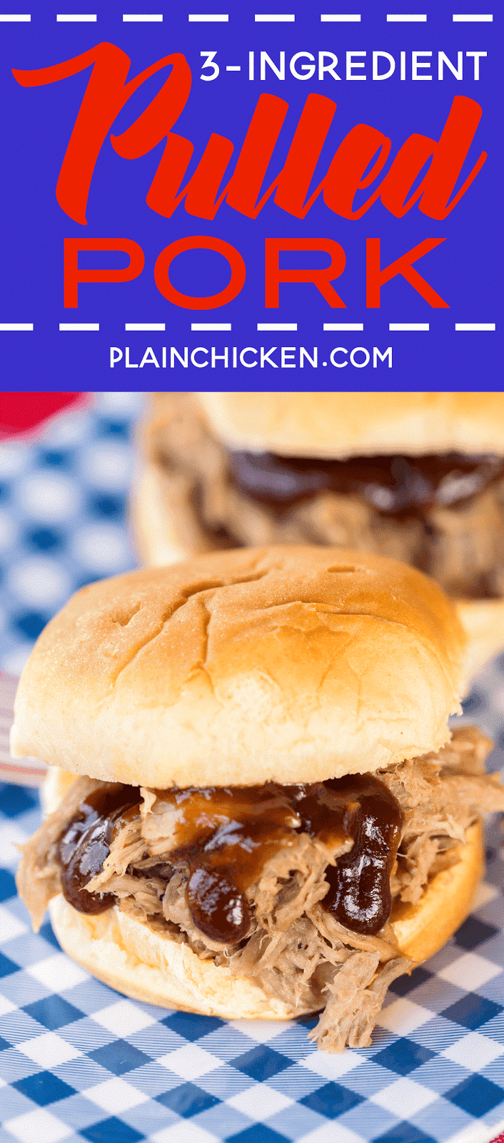 Slow Cooker 3-Ingredient Pulled Pork - Plain Chicken