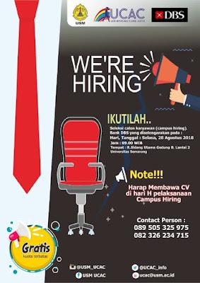 Jatengkarir - Portal Informasi Lowongan Kerja Terbaru di Jawa Tengah dan sekitarnya - DBS Bank Campus Hiring - Universitas Semarang