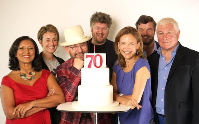 Radio 3 presenters celebrate the 70th anniversary of the Third Programme, the predecessor of BBC Radio 3, on Thursday 29 September. L-R: Lopa Kothari, Sara Mohr-Pietsch, Max Reinhardt, Tom Service, Katie Derham, Petroc Trelawny, Sean Rafferty