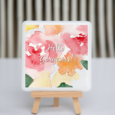 hello gorgeous, watercolor flowers, pink flowers, sassy glass studio, creative entrepreneur, desk art, coaster