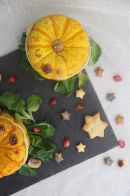 Cuillère et saladier : Courge en cocotte lutée aux champignons (Noël végétarien)