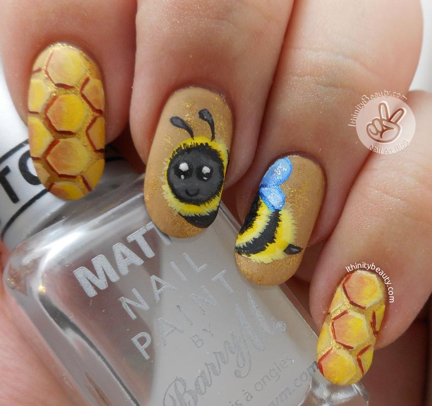 Freehand Bumble Bee Nail Art   IthinityBeauty.com Nail Art ...