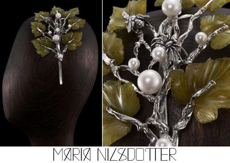 Crown Princess Victoria Maria Nilsdotter Nocturnal Tiara Silver with Pearls Green Stone